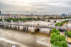 Aerial View of Central London and the river Thames Royalty Free Stock Images