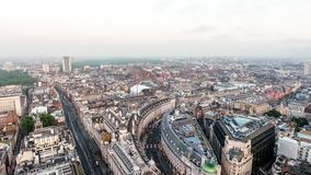 Aerial View Central London Skyline Above Piccadilly Road and Regent Street. Aerial View Central London Skyline Town Centre Above Piccadilly Road and Regent Royalty Free Stock Image