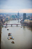 Aerial view of Central London and Thames River Stock Images