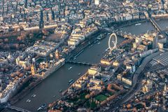 Aerial view of central London, UK, with all the major tourist attractions royalty free stock image