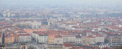 Aerial view of the central Lyon, France Royalty Free Stock Image