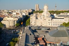 Central Madrid next to Plaza de Cibeles and the Communications Palace. Aerial view of Central Madrid next to Plaza de Cibeles and the Communications Palace Royalty Free Stock Photos
