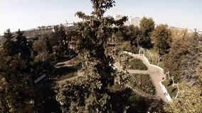 Aerial view of Central Moscow Gorky park. Crowds of people walking over central park in Moscow, Russia. Moscow river bank, park full of green trees on a sunny stock video