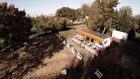 Aerial view of Central Moscow Gorky park. stock footage