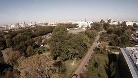 Aerial view of Central Moscow Gorky park and main entrance. Aerial view of Central Moscow Gorky park. Crowds of people walking over central park in Moscow stock video