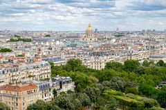 View of central Paris including Les Invalides and typical parisian houses Royalty Free Stock Photo