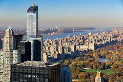 Aerial View, Central Park in Fall, Upper West Side, NYC royalty free stock photo
