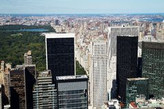 Aerial View of Central Park and Midtown, New York City Royalty Free Stock Photography