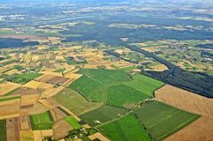 Aerial view - Central Poland. Aerial view of farmland area landscape from airplane - Central Poland Royalty Free Stock Images