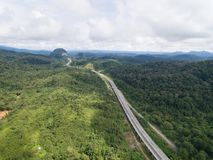 Aerial view of Central Spine Road CSR highway located in kuala lipis, pahang, malaysia. Is a new highway under construction in the center of Peninsula Malaysia stock image