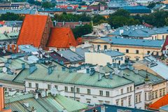 Aerial view on the central square of Krakow. Poland stock photos