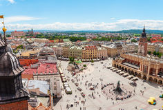 Aerial view on the central square and Sukiennice in Krakow. Market Square from the tower of the church of St. Mary. Poland. Cloth Hall Royalty Free Stock Photography