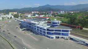 Aerial view of central station of Batumi stock footage