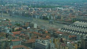 Aerial view of Central Station in Milan.  stock video