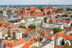 Aerial view of central Wroclaw Stock Images