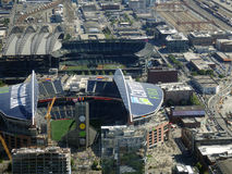 Aerial View of CenturyLink Field and Safeco field Stock Images