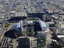 Aerial View of CenturyLink Field and Safeco field Royalty Free Stock Image