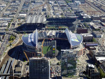 Aerial View of CenturyLink Field and Safeco field Stock Image