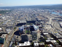Aerial View of CenturyLink Field and Safeco field Stock Photos