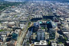Aerial view of the CenturyLink Field stock photo