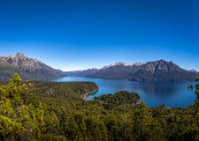 Aerial view from Cerro Llao Llao viewpoint at Circuito Chico - Bariloche, Patagonia, Argentina. Aerial view from Cerro Llao Llao viewpoint at Circuito Chico in royalty free stock photo