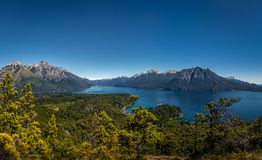 Aerial view from Cerro Llao Llao viewpoint at Circuito Chico - Bariloche, Patagonia, Argentina. Aerial view from Cerro Llao Llao viewpoint at Circuito Chico in stock photography