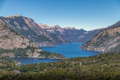 Aerial view from Cerro Llao Llao viewpoint at Circuito Chico - Bariloche, Patagonia, Argentina. Aerial view from Cerro Llao Llao viewpoint at Circuito Chico in royalty free stock image