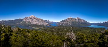 Aerial view from Cerro Llao Llao viewpoint at Circuito Chico - Bariloche, Patagonia, Argentina stock photography
