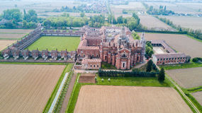 Aerial view of the Certosa di Pavia,  the monastery and shrine in the province of Pavia, Lombardia, Italy Royalty Free Stock Photography