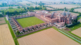 Aerial view of the Certosa di Pavia, the monastery and shrine in the province of Pavia, Lombardia, Italy Royalty Free Stock Images