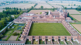 Aerial view of the Certosa di Pavia,  the monastery and shrine in the province of Pavia, Lombardia, Italy Stock Photography
