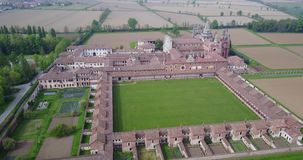 Aerial view of the Certosa di Pavia,  the monastery and shrine in the province of Pavia, Lombardia, Italy stock video footage