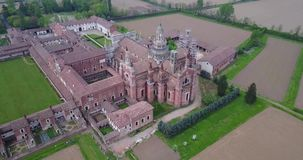 Aerial view of the Certosa di Pavia,  the monastery and shrine in the province of Pavia, Lombardia, Italy stock video