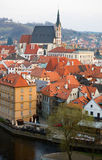 Aerial view of Cesky Krumlov Royalty Free Stock Photos