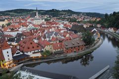Cesky Krumlov at dusk, South Bohemia, Czech Republic Royalty Free Stock Photos
