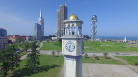 Aerial view of chacha tower in Batumi stock video footage