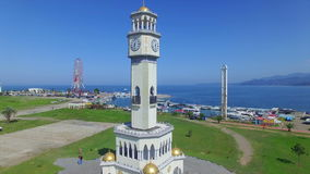 Aerial view of chacha tower in Batumi stock video