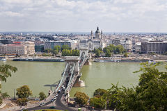 Aerial view of Chain bridge. Budapest, Hungary Royalty Free Stock Image