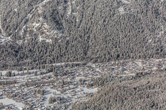 Aerial view of Chamonix Mont Blanc, France Royalty Free Stock Photos