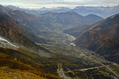 Aerial view of Chamonix Stock Photography