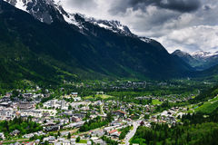 Aerial view of Chamonix town. Under clouds in France. Popular sports and touristic destination in French Alps Royalty Free Stock Photo
