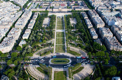 Aerial view on Champ de Mars and Ecole Militaire Royalty Free Stock Images