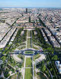 Aerial view on Champ de Mars and Ecole Militaire Royalty Free Stock Photos