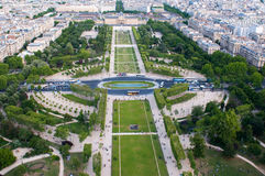 Aerial view on Champ de Mars and Ecole Militaire Royalty Free Stock Photo