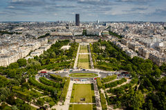 Aerial View on Champ de Mars from the Eiffel Tower, Paris Stock Photo