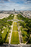 Aerial View on Champ de Mars from the Eiffel Tower, Paris Stock Image