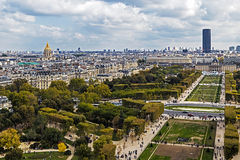 Aerial view on Champ de Mars from Eiffel tower. Paris Stock Photography