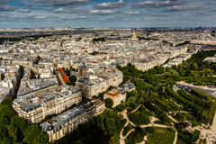 Aerial View on Champ de Mars and Invalides from the Eiffel Tower Royalty Free Stock Image