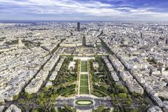 Aerial View on Champ de Mars and Invalides in Paris Royalty Free Stock Photography