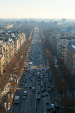 Aerial view of Champes Elysees Avenue from Arc de Triomphe. View Champes Elysees Avenue from Arc de Triomphe with Louvre in the distance Stock Image